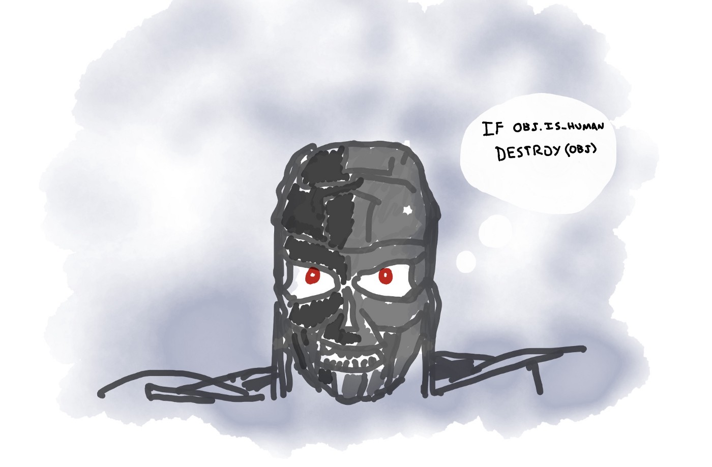 "An illustration of a Terminator robot with a thought bubble that says ""IF OBJ.IS_HUMAN DESTROY OBJ"