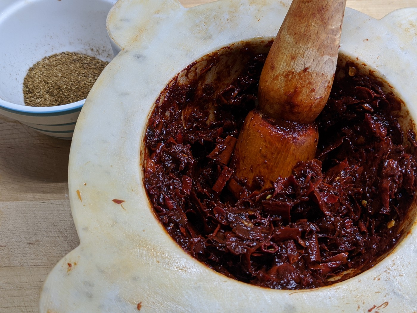 Harissa in a Mortar and Pestle