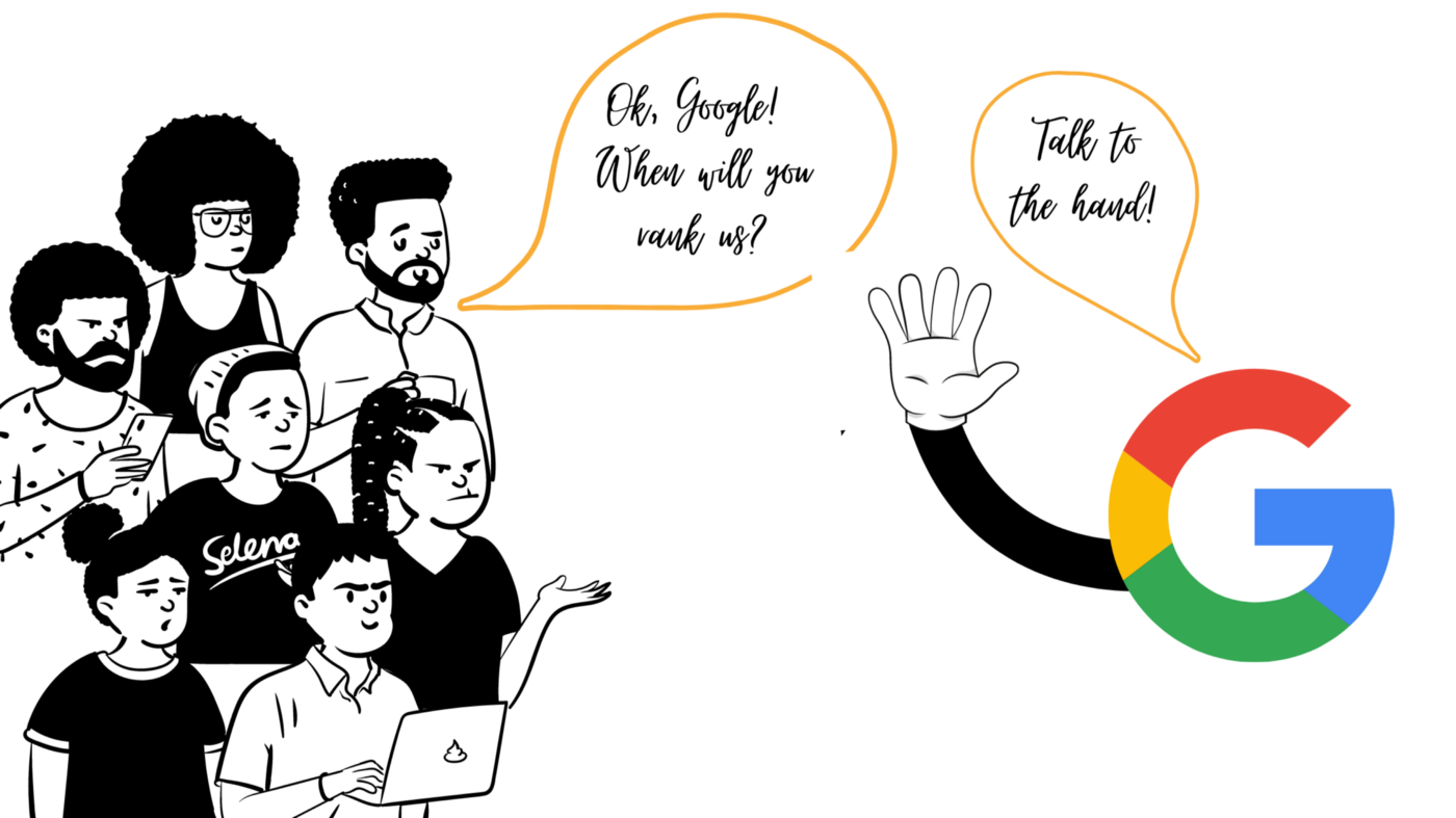 Blog post cover illustration showing people talking to Google