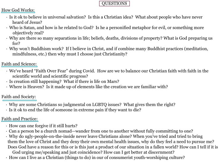 Image of document with four subheadings (how God works in the world; faith and science; faith and society; faith and practice) that comes from church member survey to invite questions about the Christian faith tradition to be answered in the 2021 summer series of weekly sermons.
