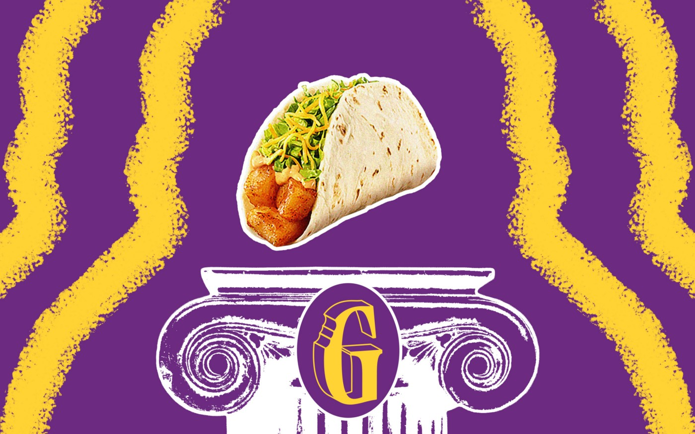 "A photo illustration with Taco Bell's cheesy potato soft taco floating above a white column. The column has the letter ""G"" embossed and is surrounded by streaks of purple and yellow."