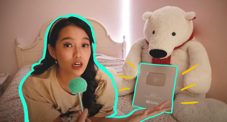 Screenshot of Kaiti Yoo and her YouTube award for hitting 100k.