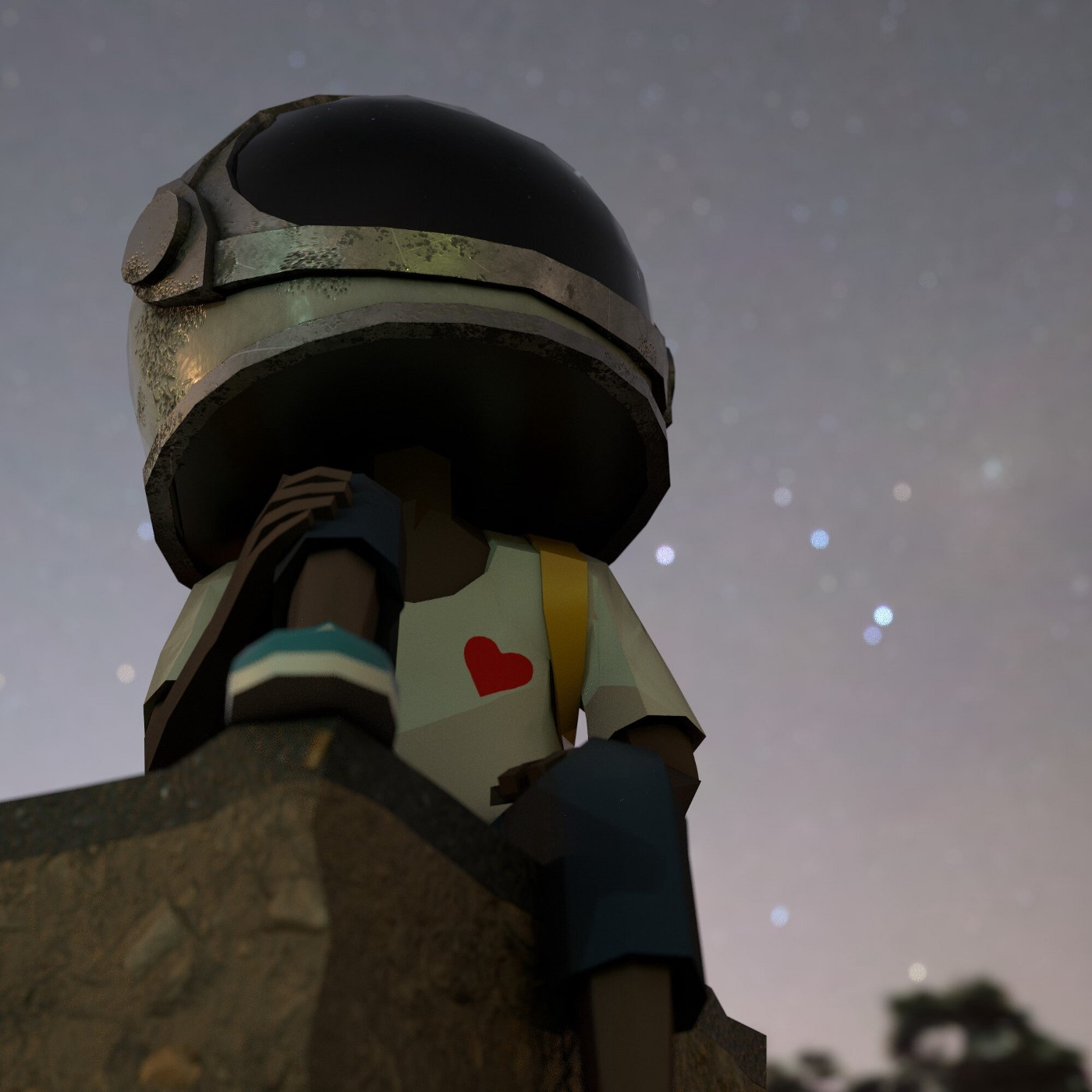 Aku, the fictional character based on Micah Johnson's young nephew, staring up at the stars