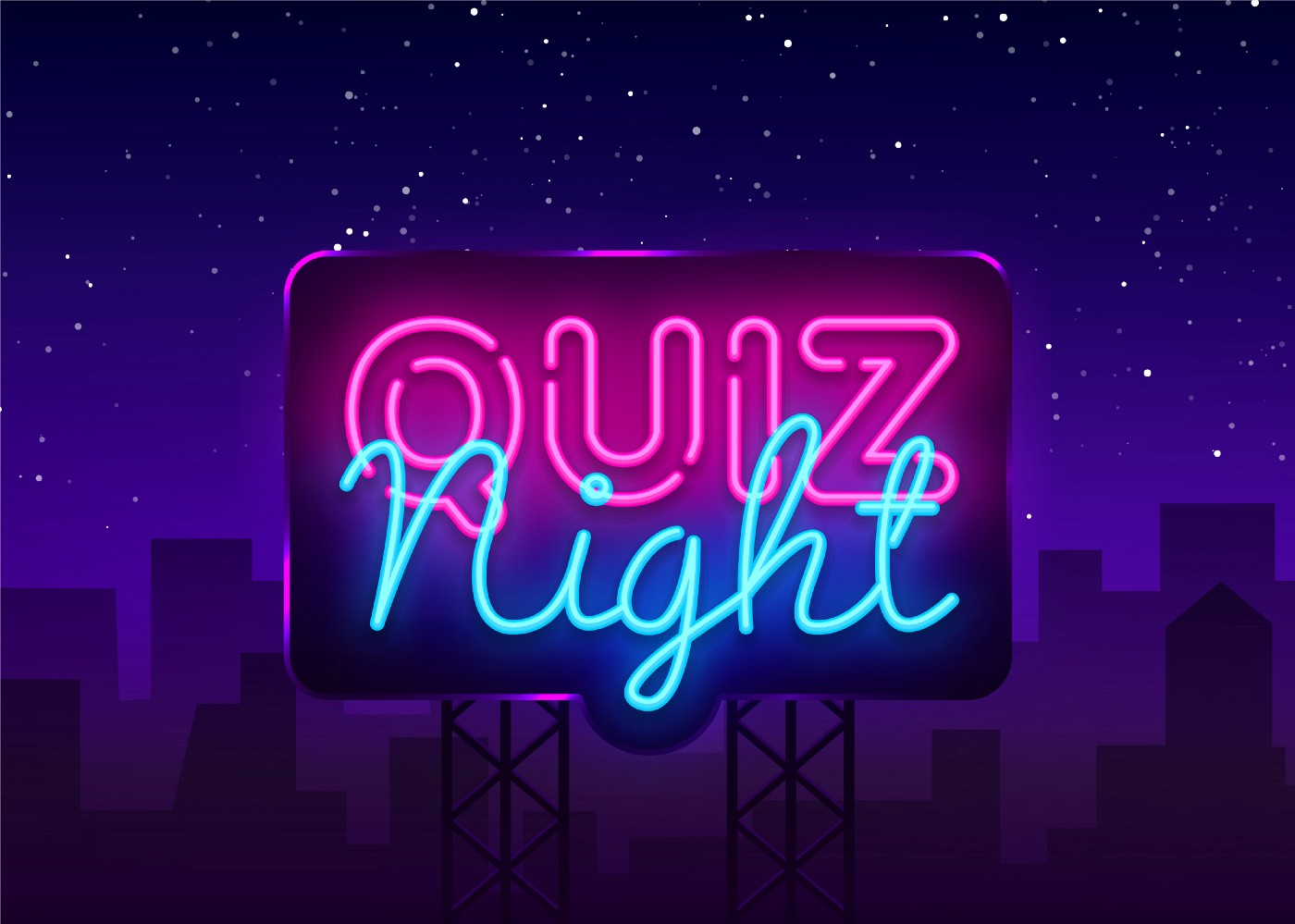 """A neon sign that says """"Quiz Night"""", over a cityscape at night."""