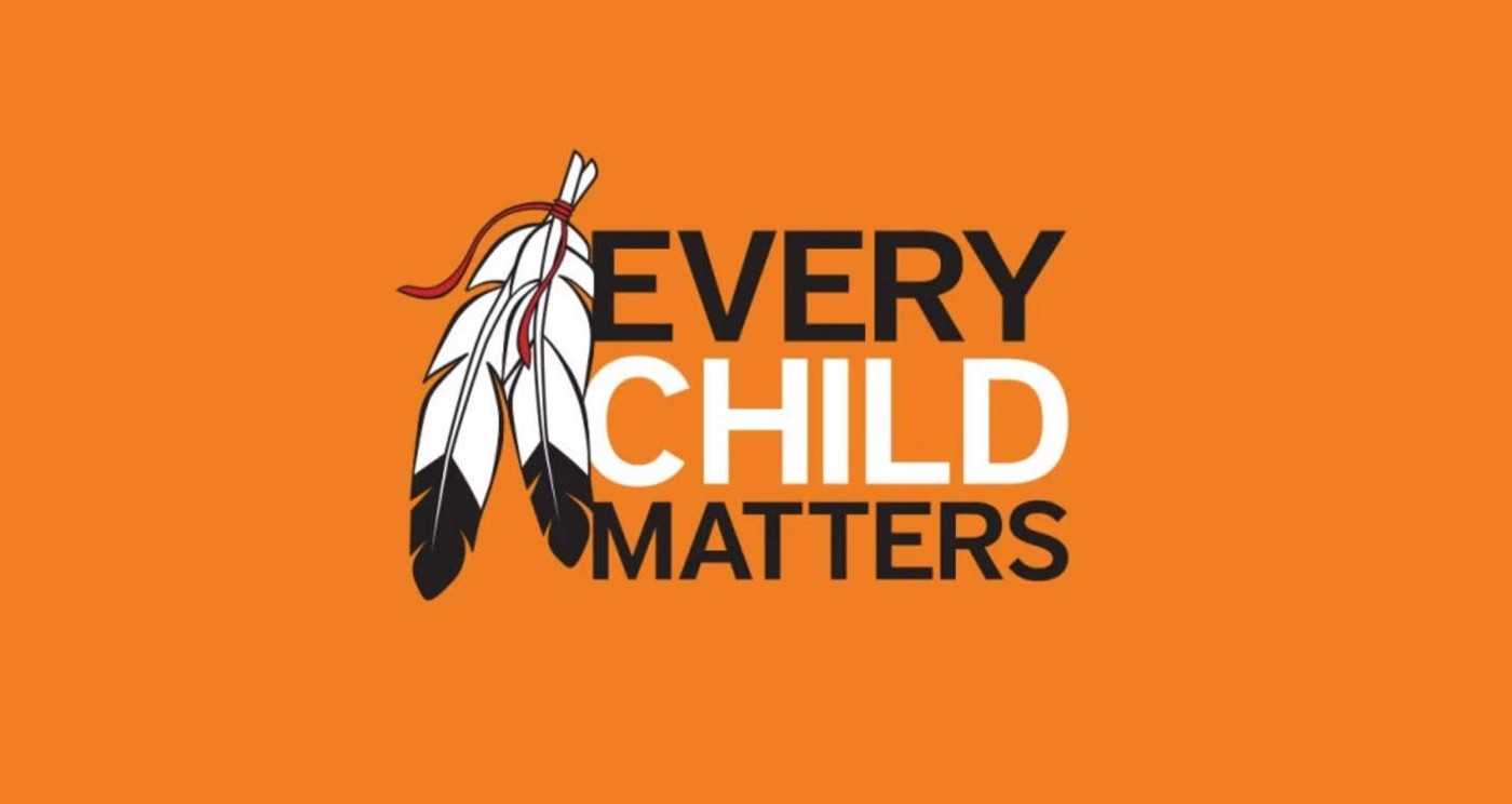 Orange image with feathers with the text Every Child Matters
