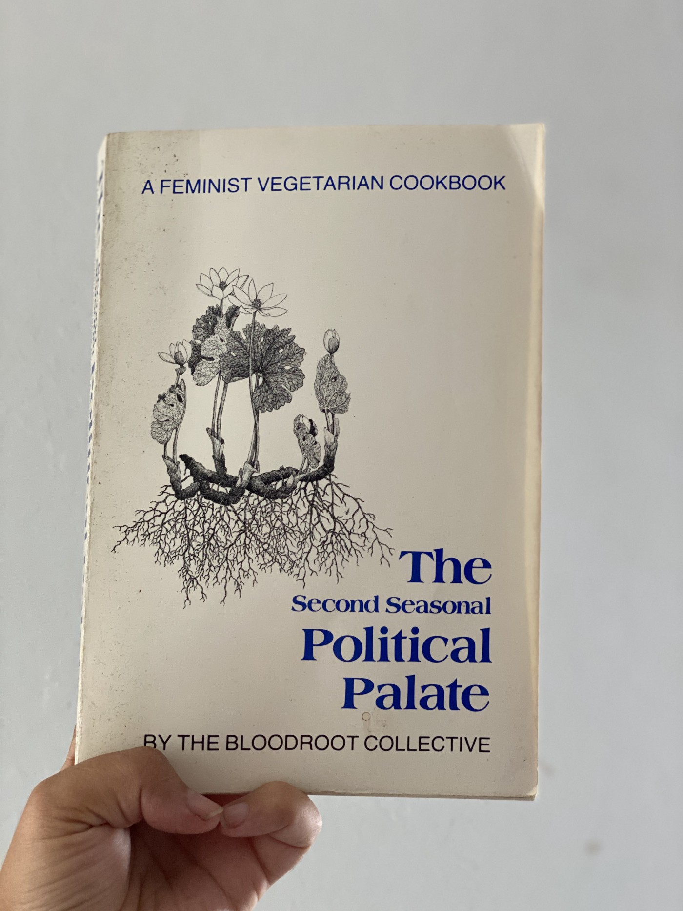 A photo of the book 'The Second Seasonal Political Palette' featuring a black and white floral illustration