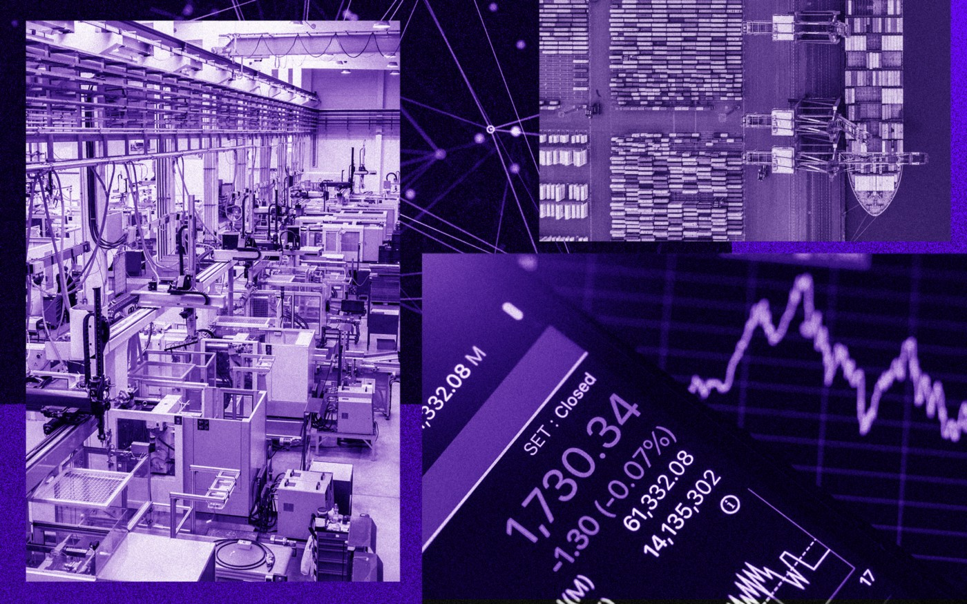 A photo collage of a shipping dock, a graph of a stock market activity, and an automated warehouse