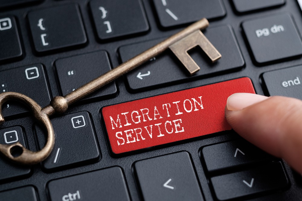 An image representing a migration service key on a keyboard
