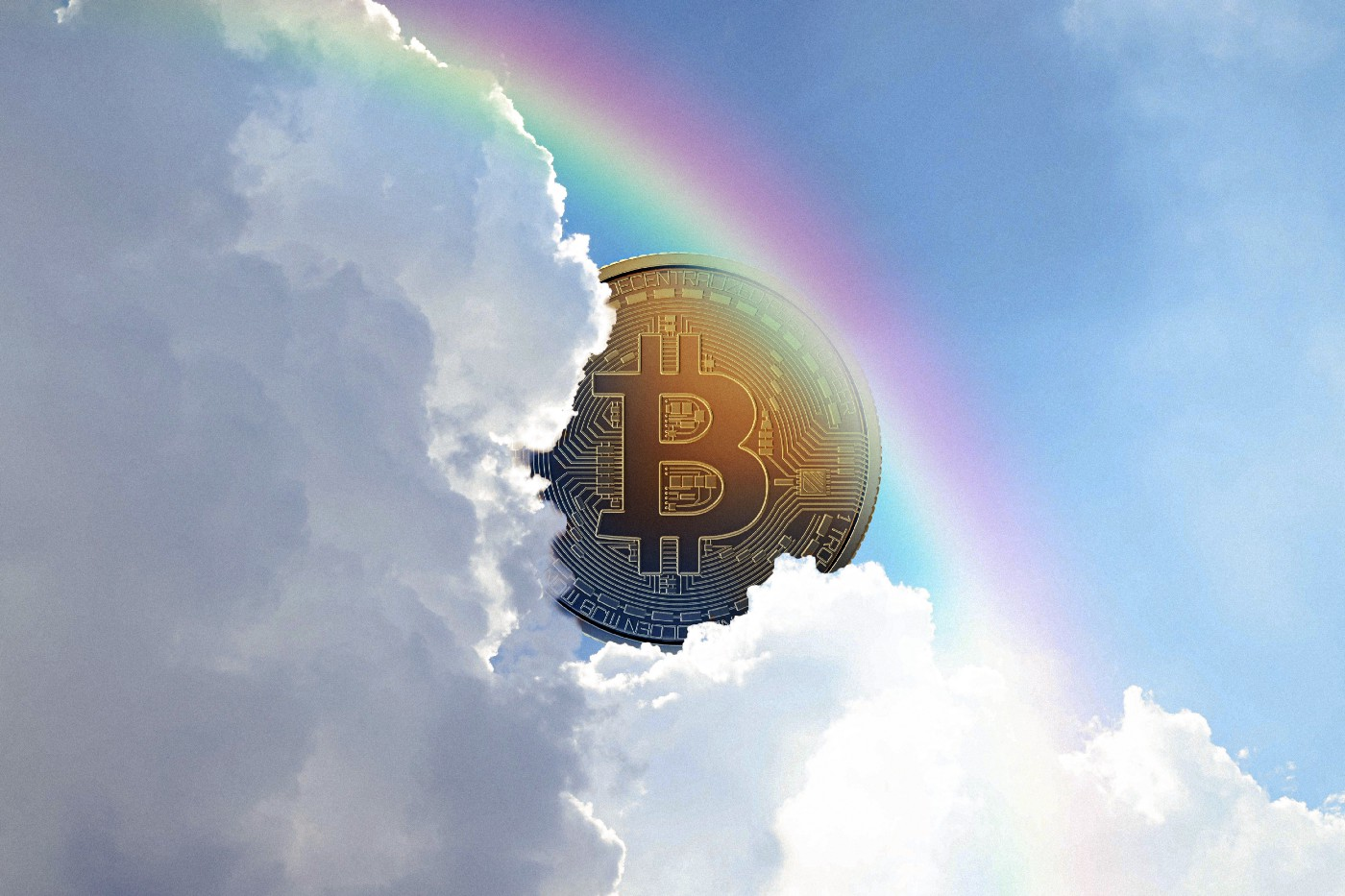 An illustration of a conceptual Bitcoin placed behind clouds in the sky as a rainbow crosses the sky.