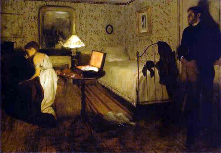 painting of a bedroom scene with a man and woman