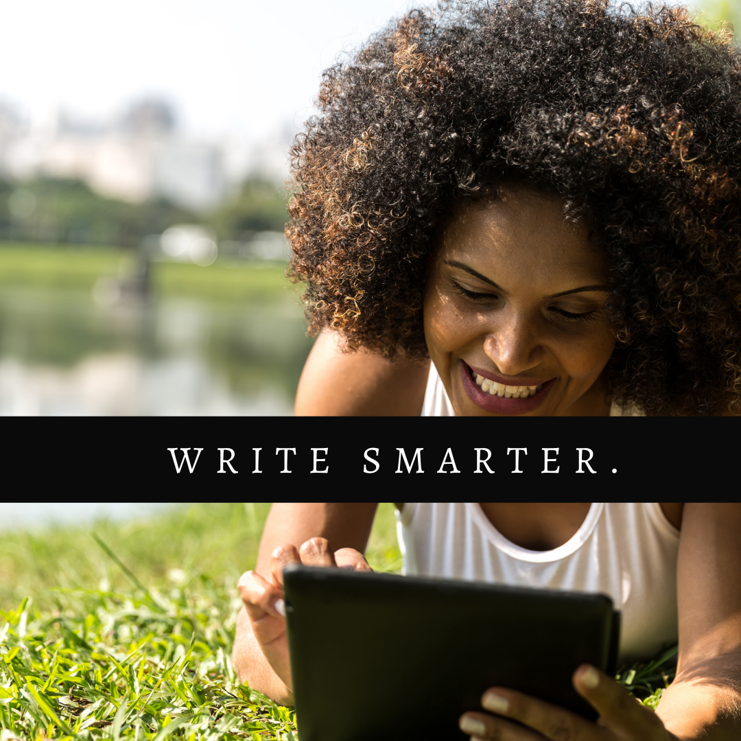 Finding a writing routine article cover by Aigner Loren Wilson. A Black person smiling while laying on grass and looking at a tablet. Find your writing routine. Writing routines.