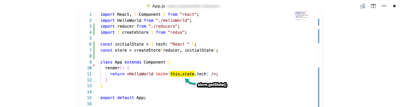 """Replace """"this.state"""" with """"store.getState()"""""""