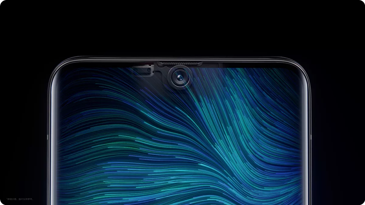 The top end of a phone with a screen flowing content over the front camera