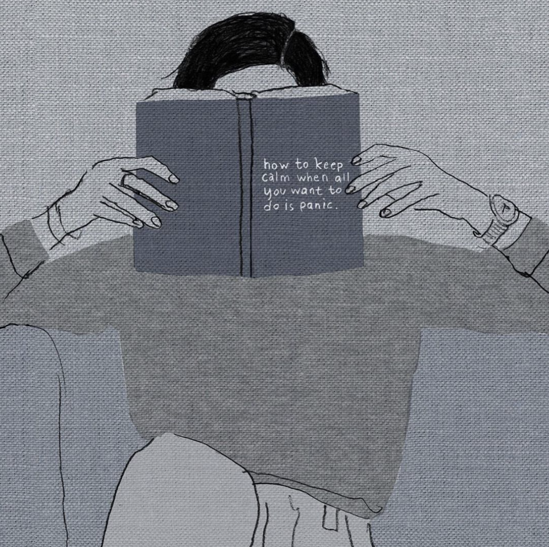 Illustration of a woman reading a book. The cover says 'How to keep calm when all you want to do is panic'.