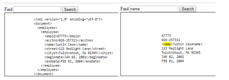 Display XML data on HTML page and highlight the search text