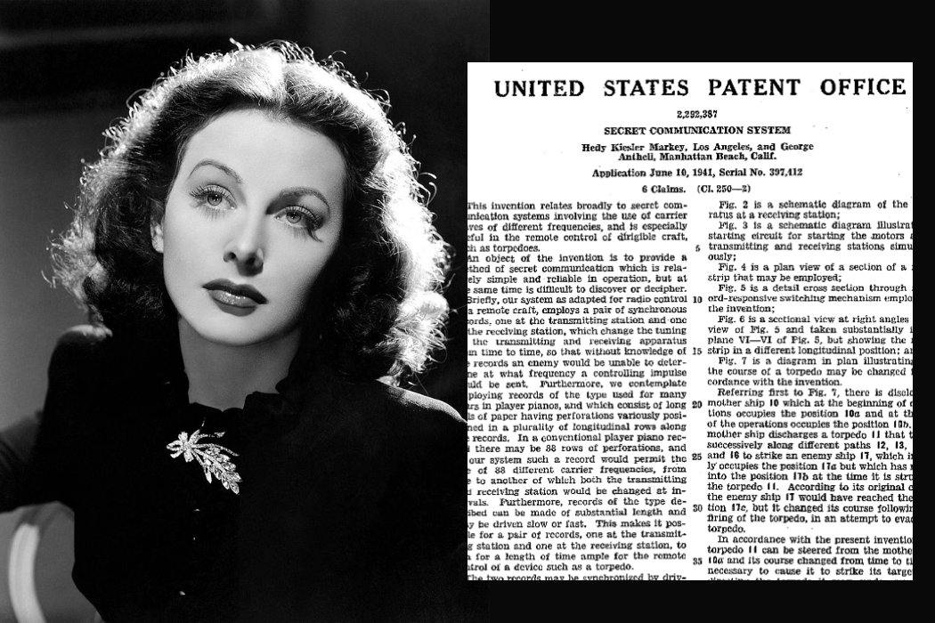 Hedy Lamarr in 1944 in The Heavenly Body (left) and the copy of U.S. patent for her Secret Communication System (right)