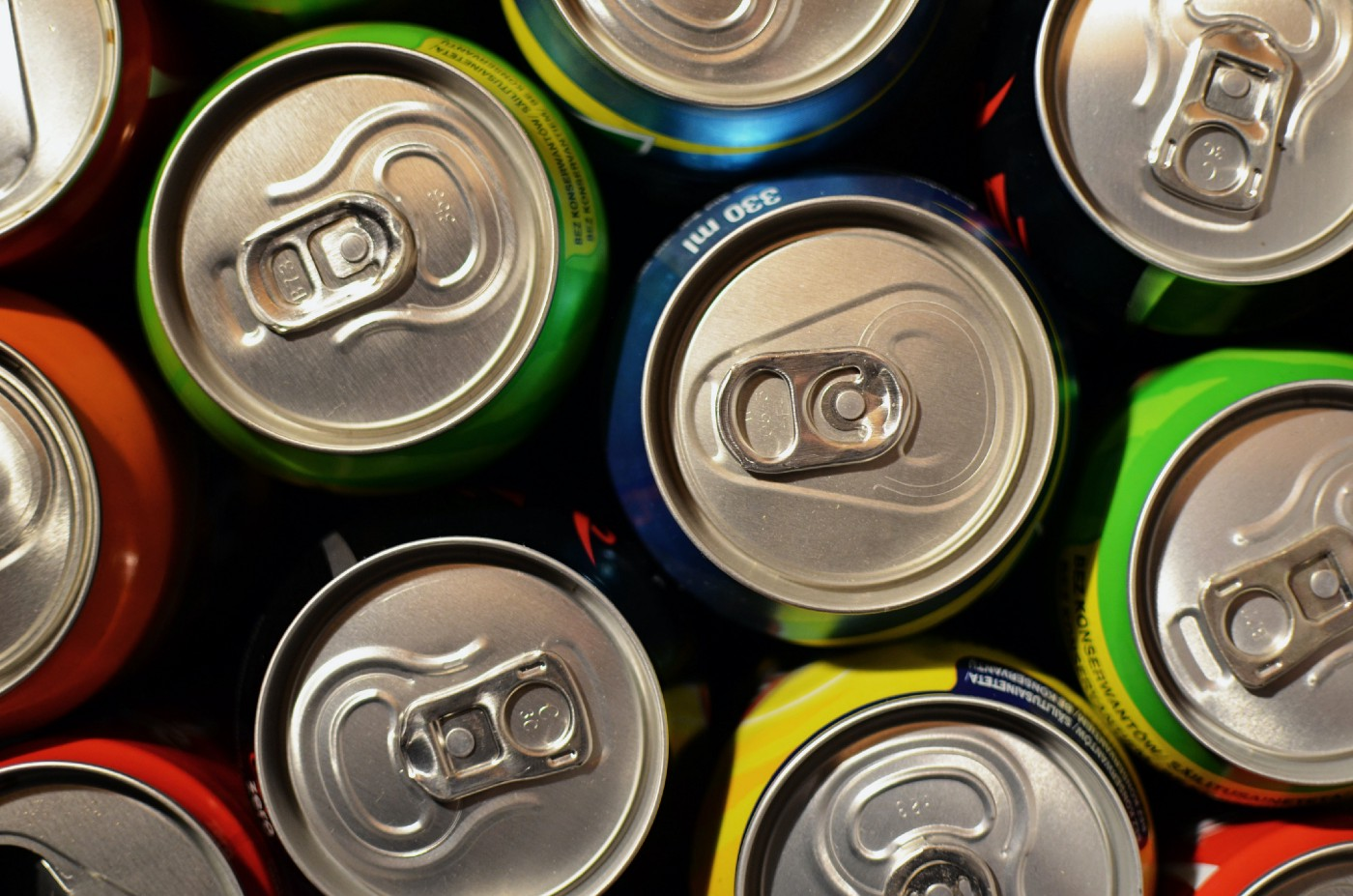 Top view of sugary beverage cans