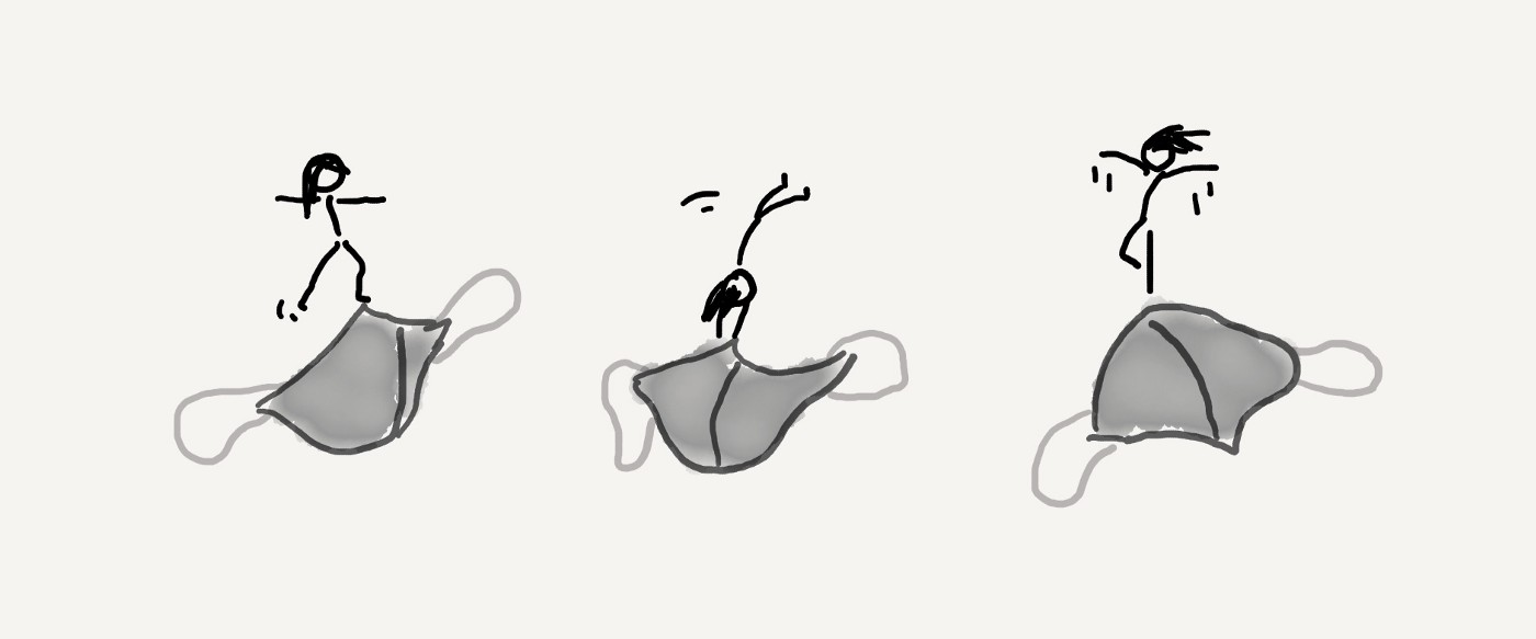 A three stick figures joyfully dancing on three grey face coverings