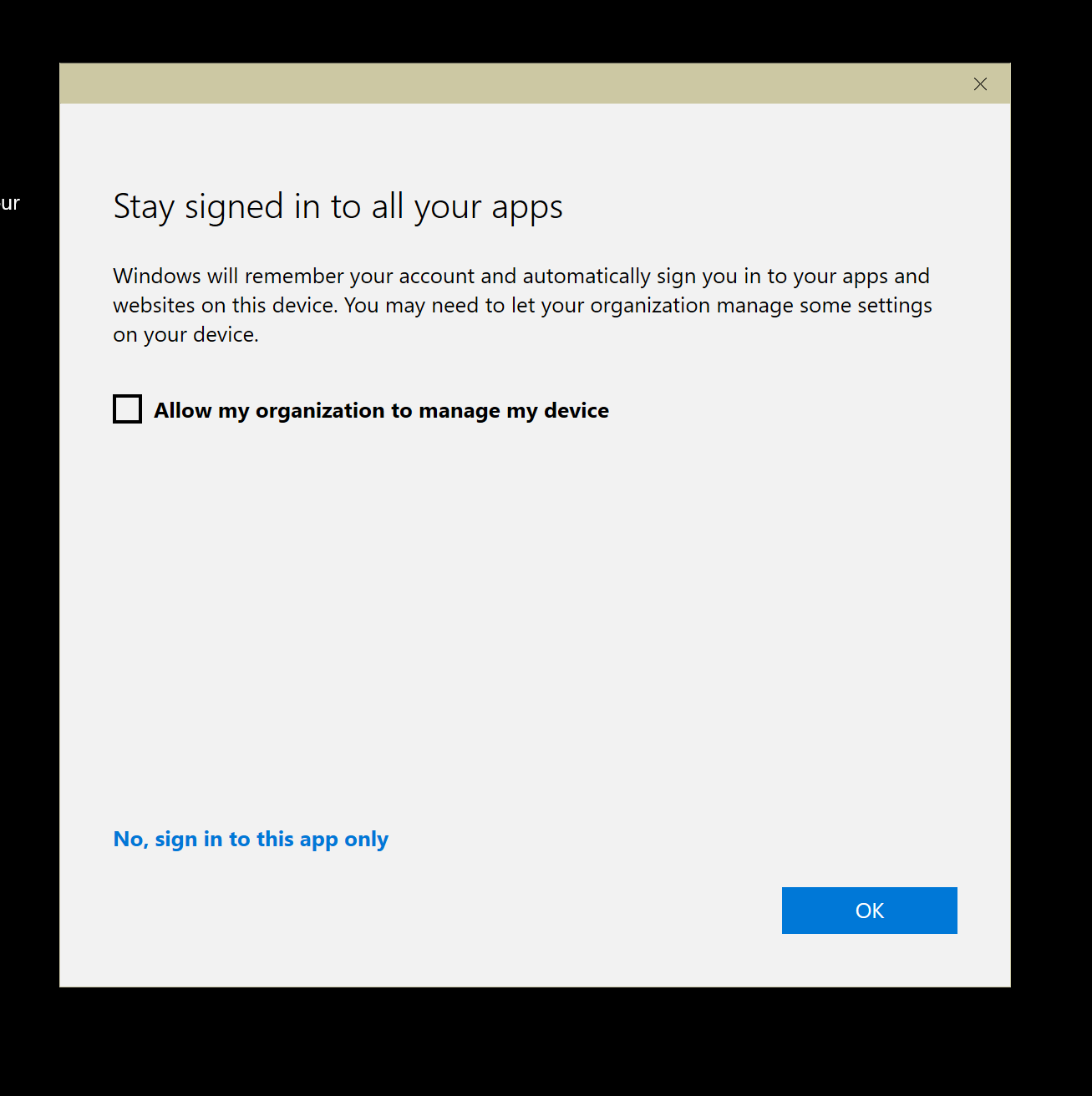 The checkbox doesn't stop the app adding an account to your Operating System