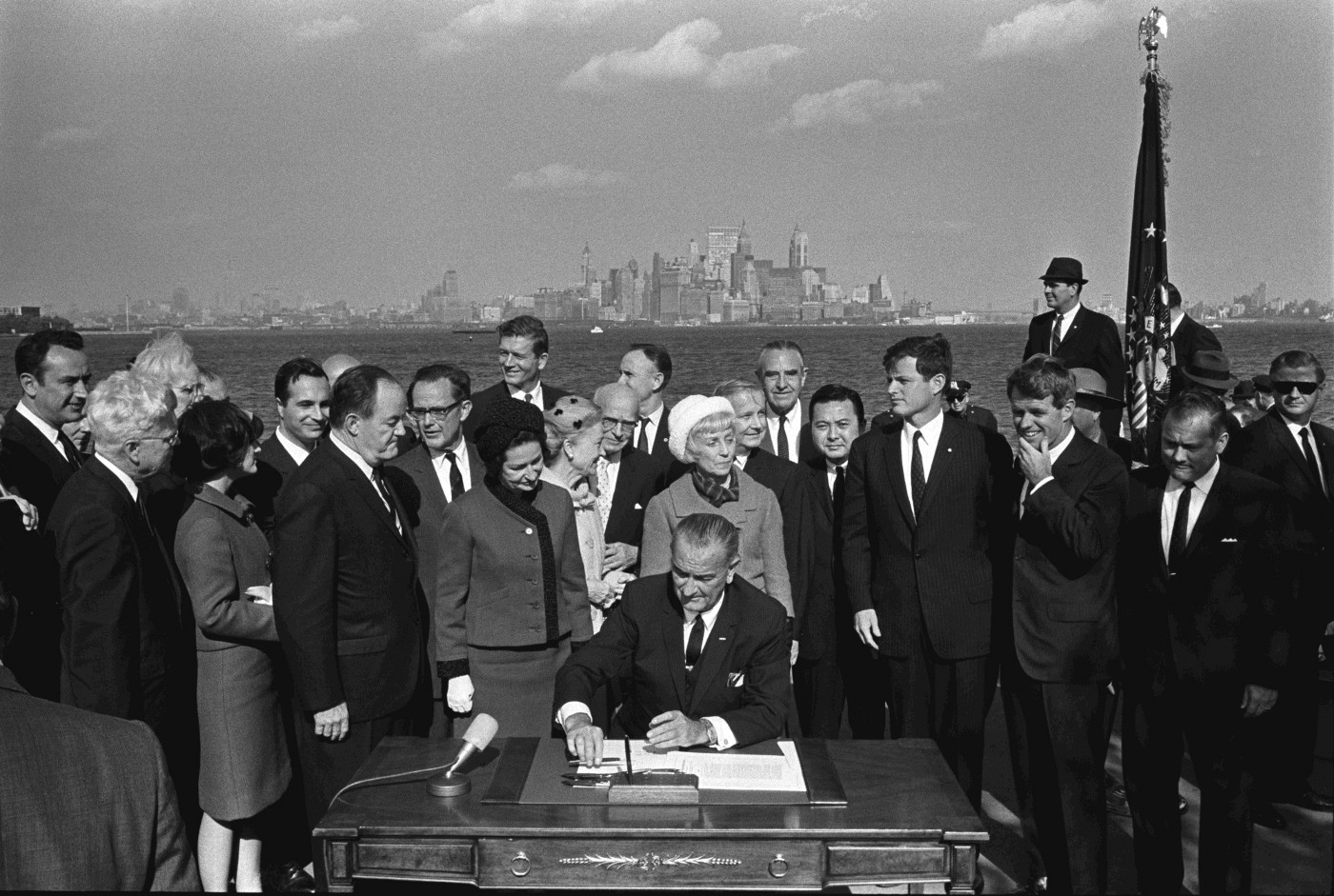 Lyndon B. Johnson signing the 1965 Hart-Celler Immigration Act. Credit: LBJ Library photo by Yoichi Okamoto
