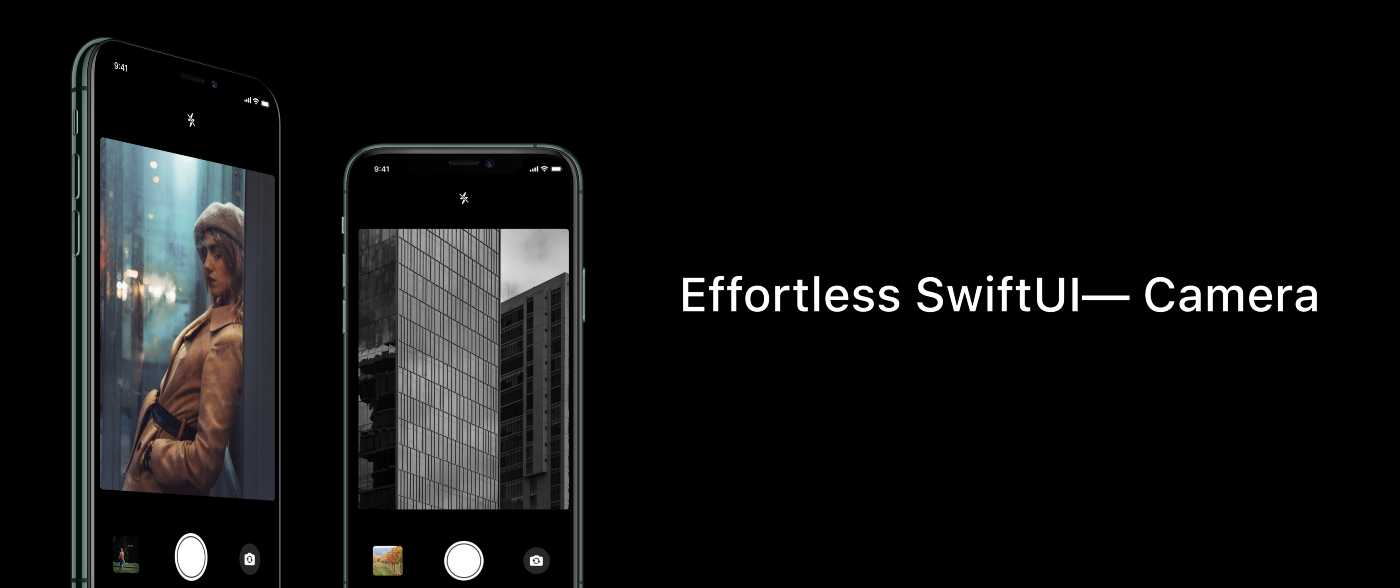 "The words ""Effortless SwiftU-Camera"" next to two iPhones in camera mode showing viewfinder images on their screens"