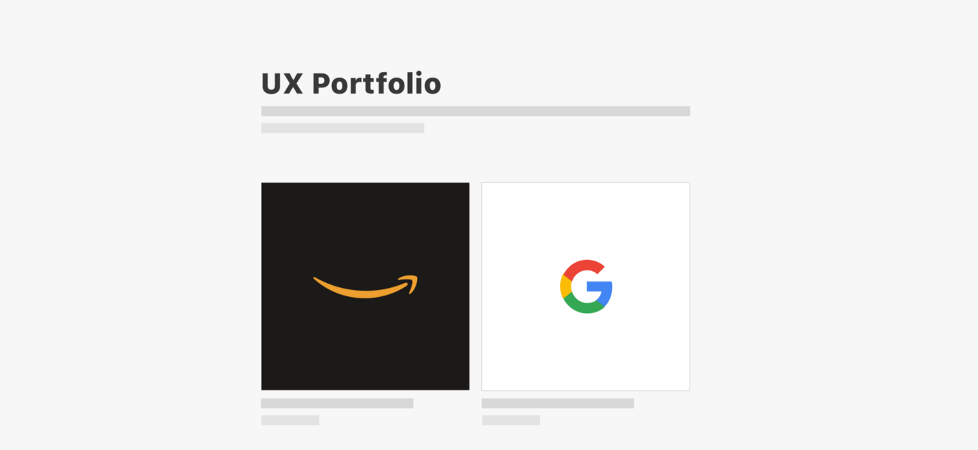 An illustration showing a UX Portfolio wireframe image with logos of Amazon and Google on it.