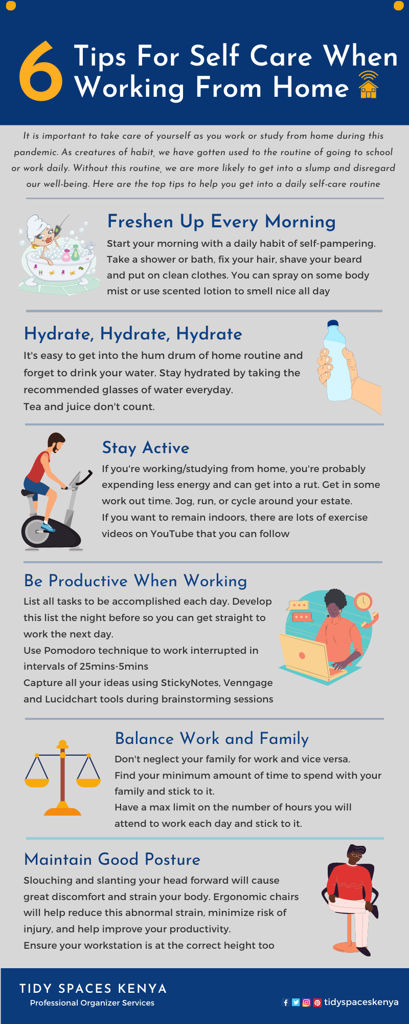 6 tips for self care when working from home: freshen up daily; hydrate; stay active; be productive; balance and good posture