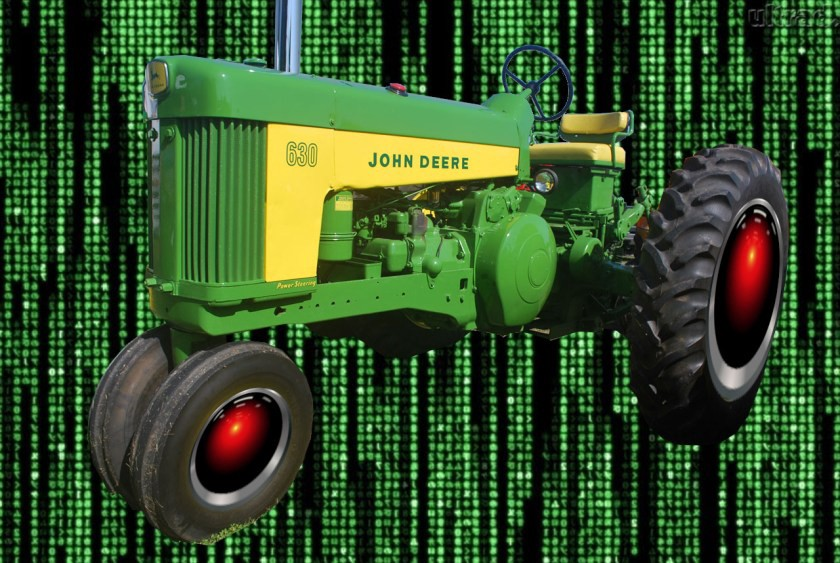 A vintage John Deere tractor whose wheel hubs have been replaced with HAL 9000 eyes, matted over a background of the cyber-waterfall image from The Matrix. Image: Cryteria (modified) https://commons.wikimedia.org/wiki/File:HAL9000.svg CC BY: https://creativecommons.org/licenses/by/3.0/deed.en