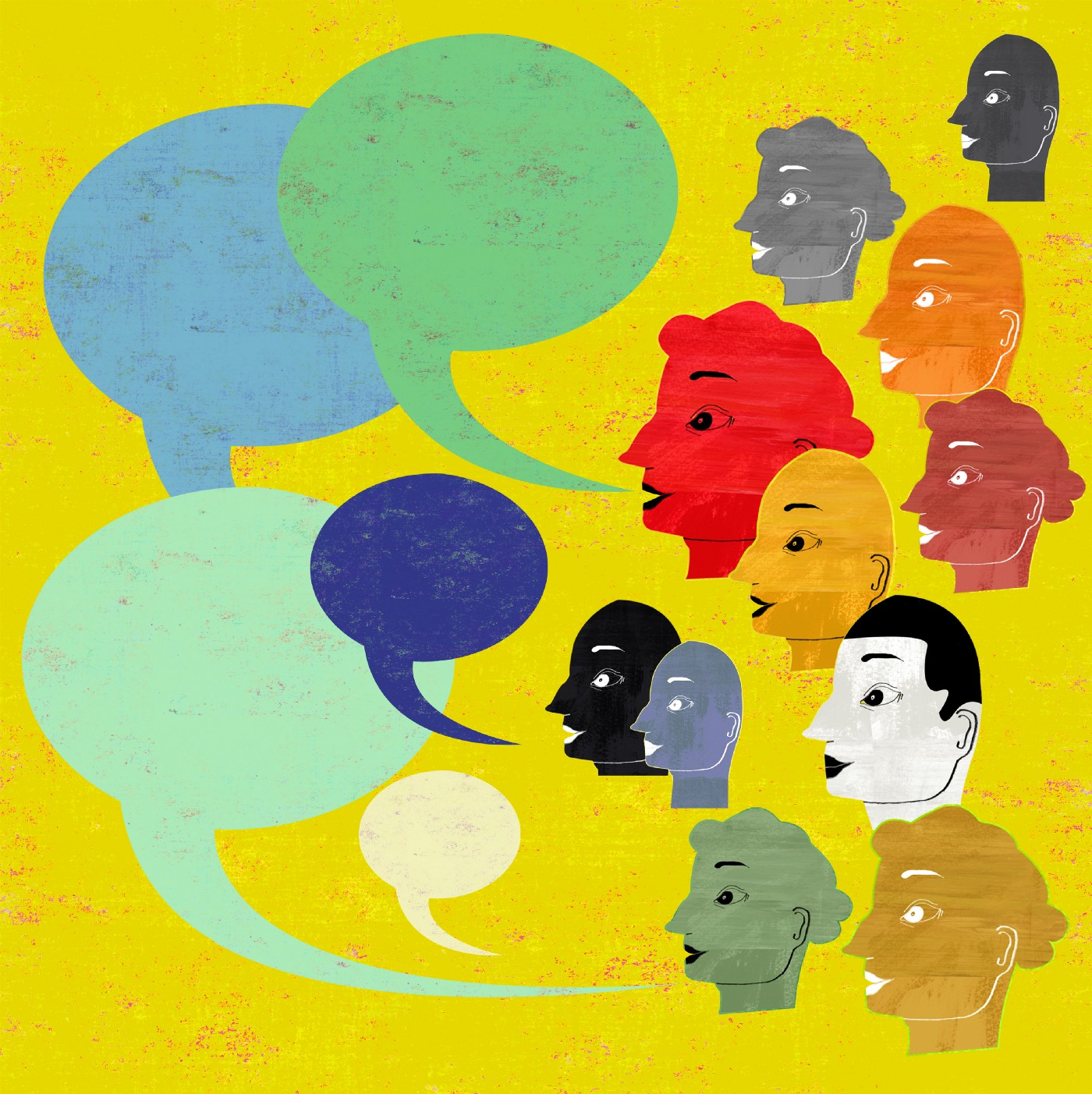 Many different colored heads next to five large speech bubbles.