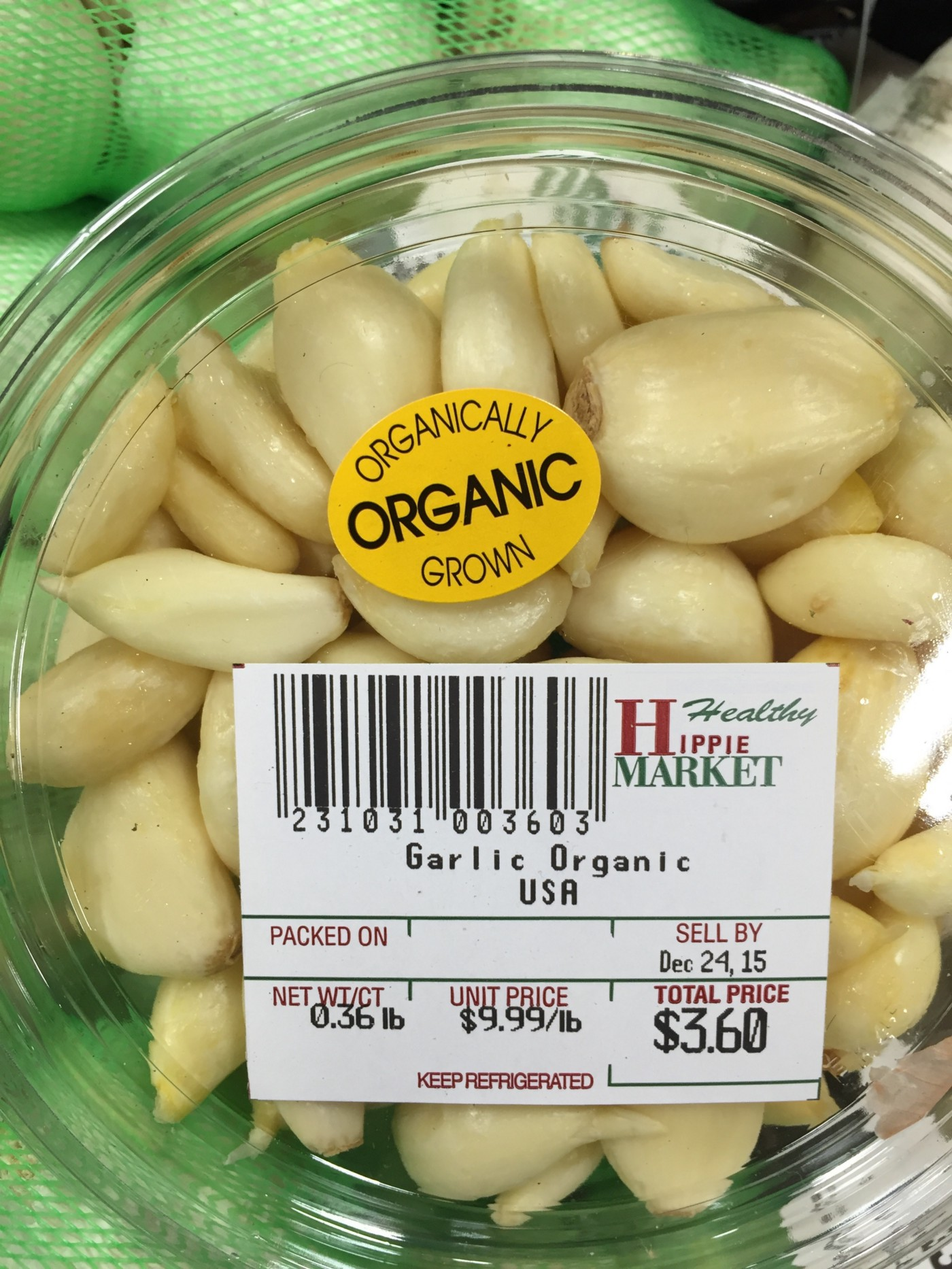 Prepacked healthy hippie garlic