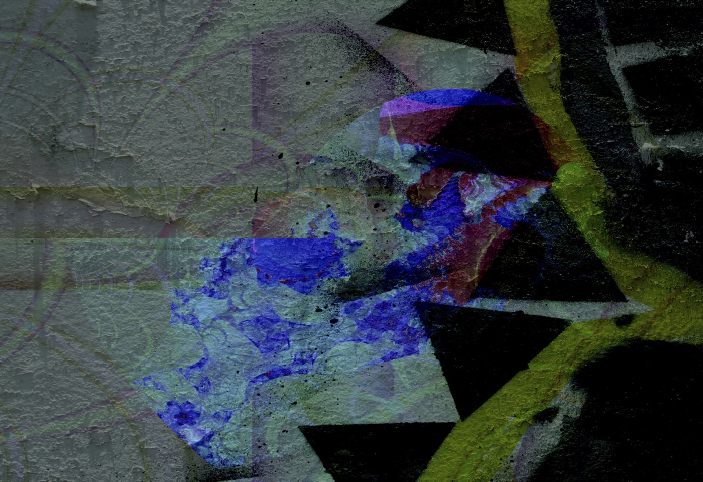 Abstract art using composite imagery to create texture and color, shades of blue, green and triangular areas of black.