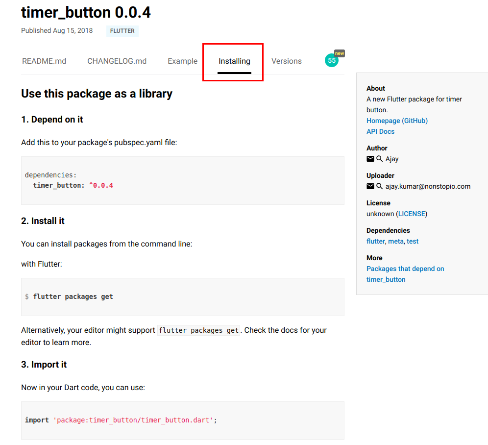 Create Flutter Package and Publish to Dart packages : Timer Button