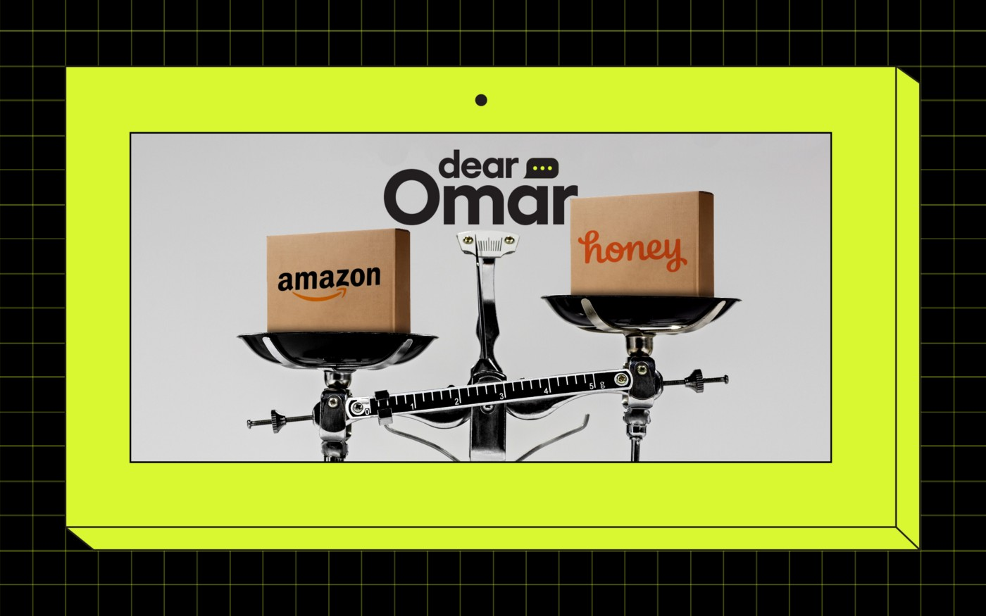 "A tip scale with one box on each scale. The box on the left of the scale is labeled ""Amazon"" and the box on the right is labeled ""Honey."" The scale is tipped toward the Amazon box. Above the image is the ""Dear Omar"" column name."