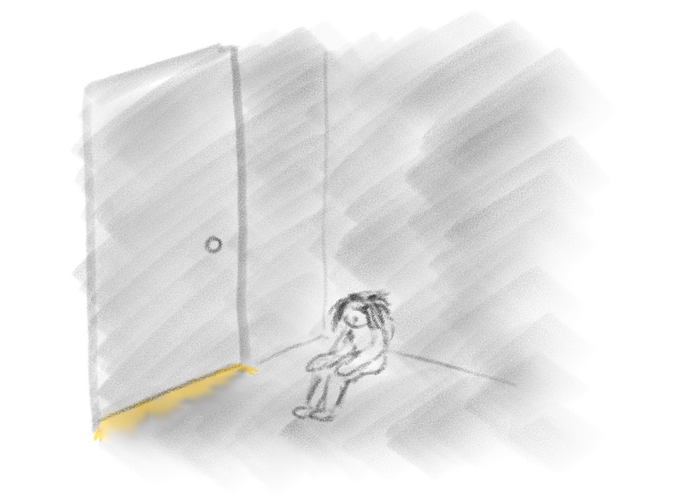 A sad, scared child hiding in a dark room with yellow light shining under the door frame.