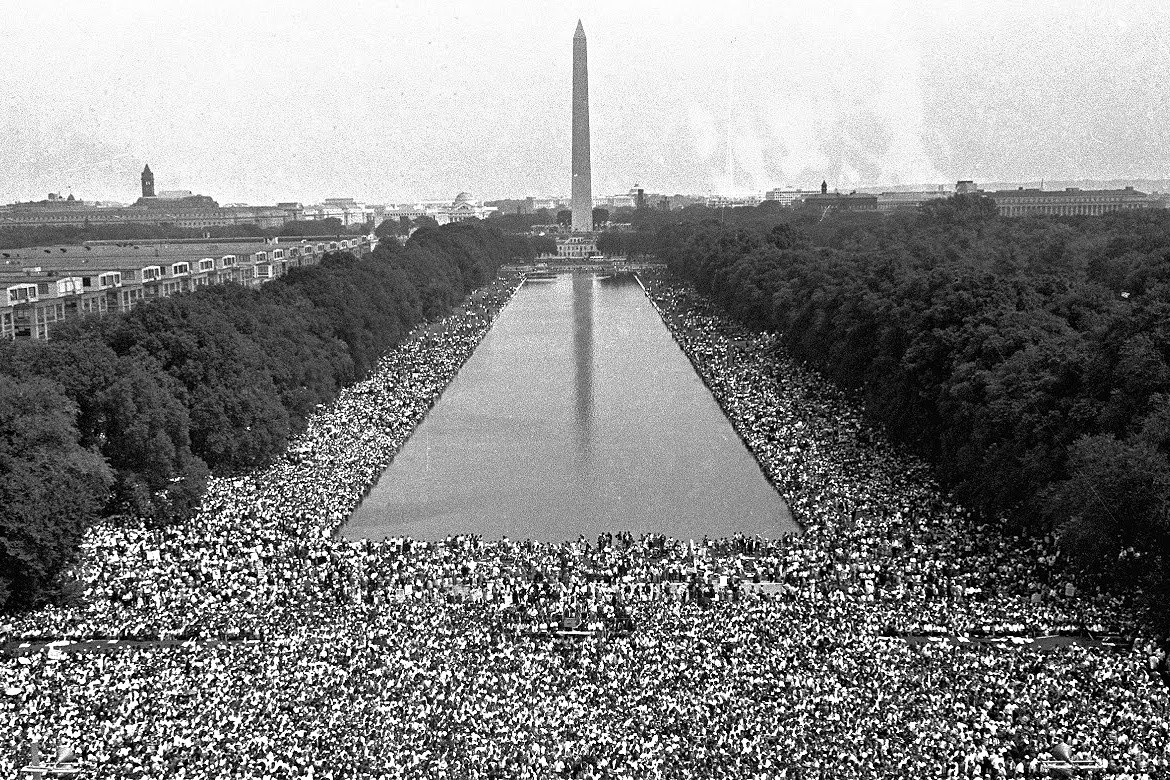 Black and white photo of the 1963 March on Washington, DC