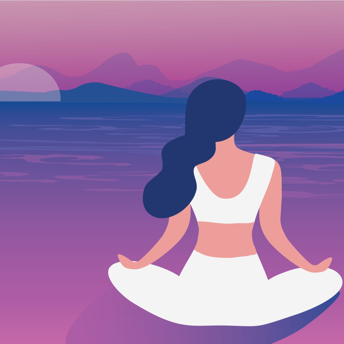 woman sitting on a beach at sunset meditating