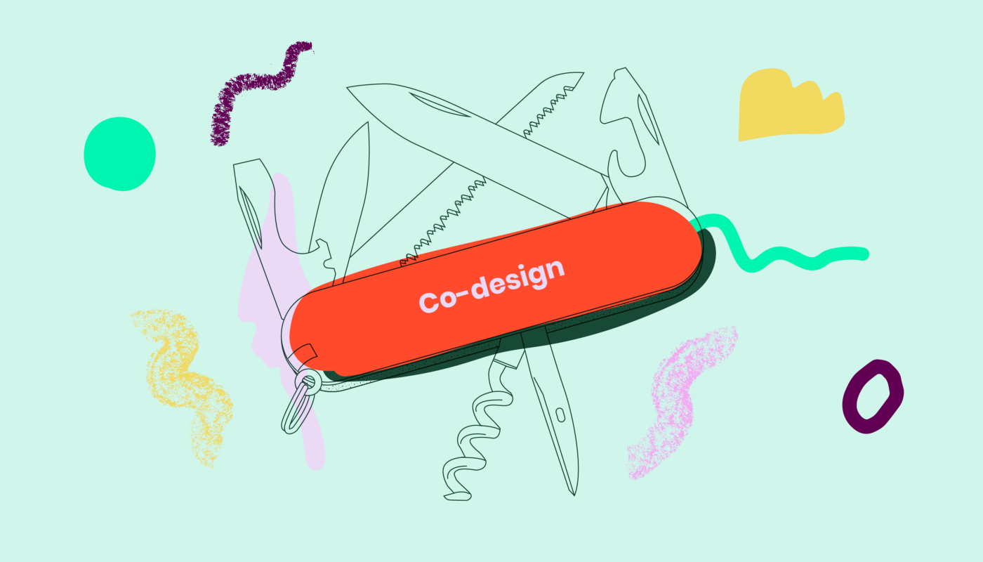 A colourful sketch of a swiss army knife with 'co-design' label. Green, pink, red and yellow squiggles and shapes.