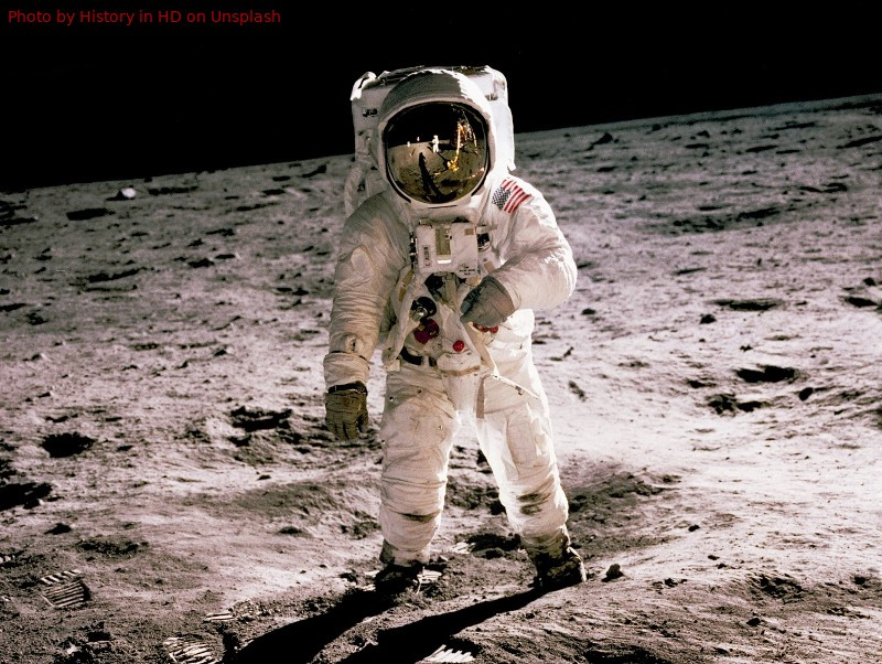 astronaut in space suit allegedly standing on the moon