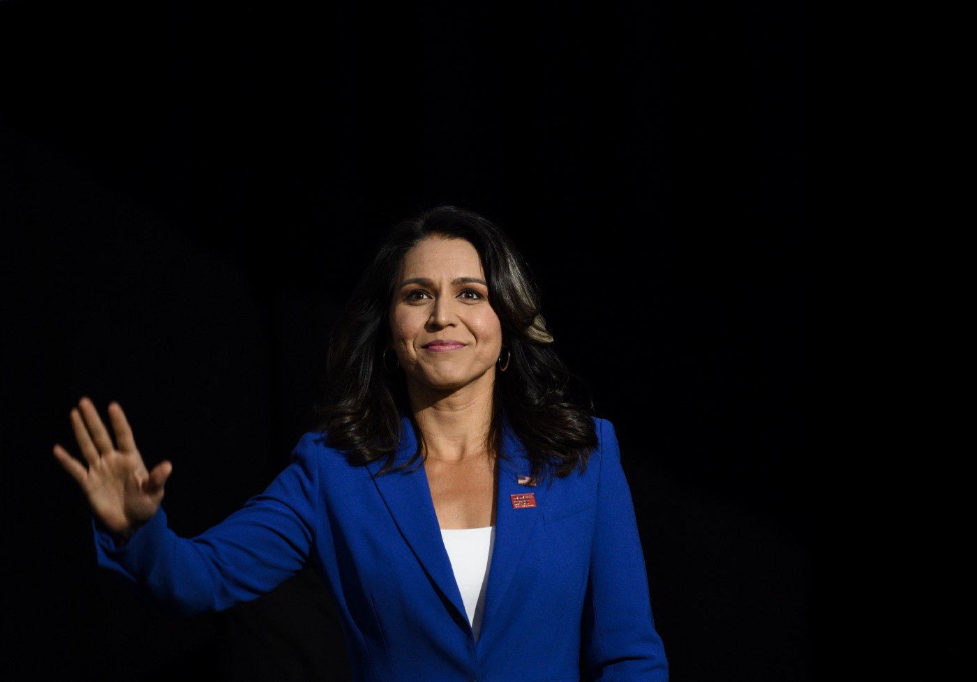 Democratic presidential candidate Rep. Tulsi Gabbard (D-HI) speaks during a forum on gun safety at the Iowa Events Center.