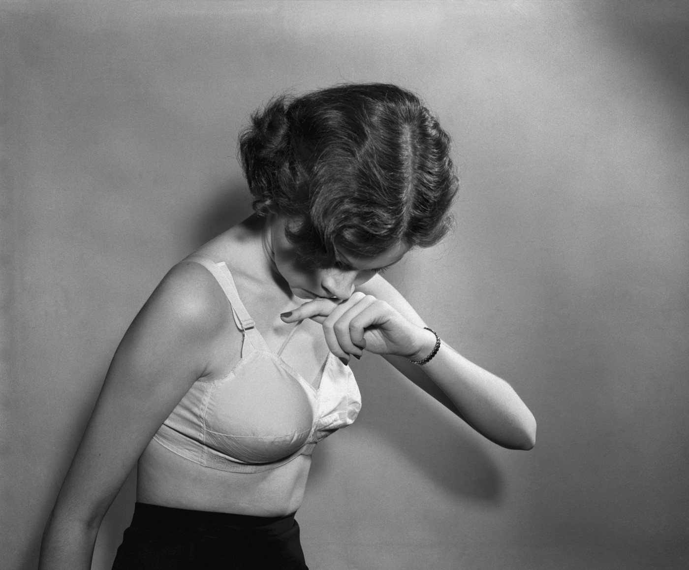 Woman wearing a vintage bra