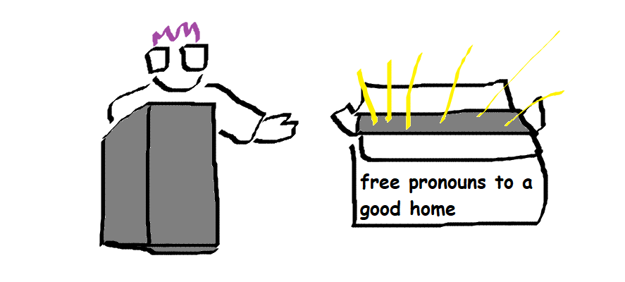 """comic of kirby behind a lecturne gesturing to a big box labeled """"free pronouns to a good home"""""""