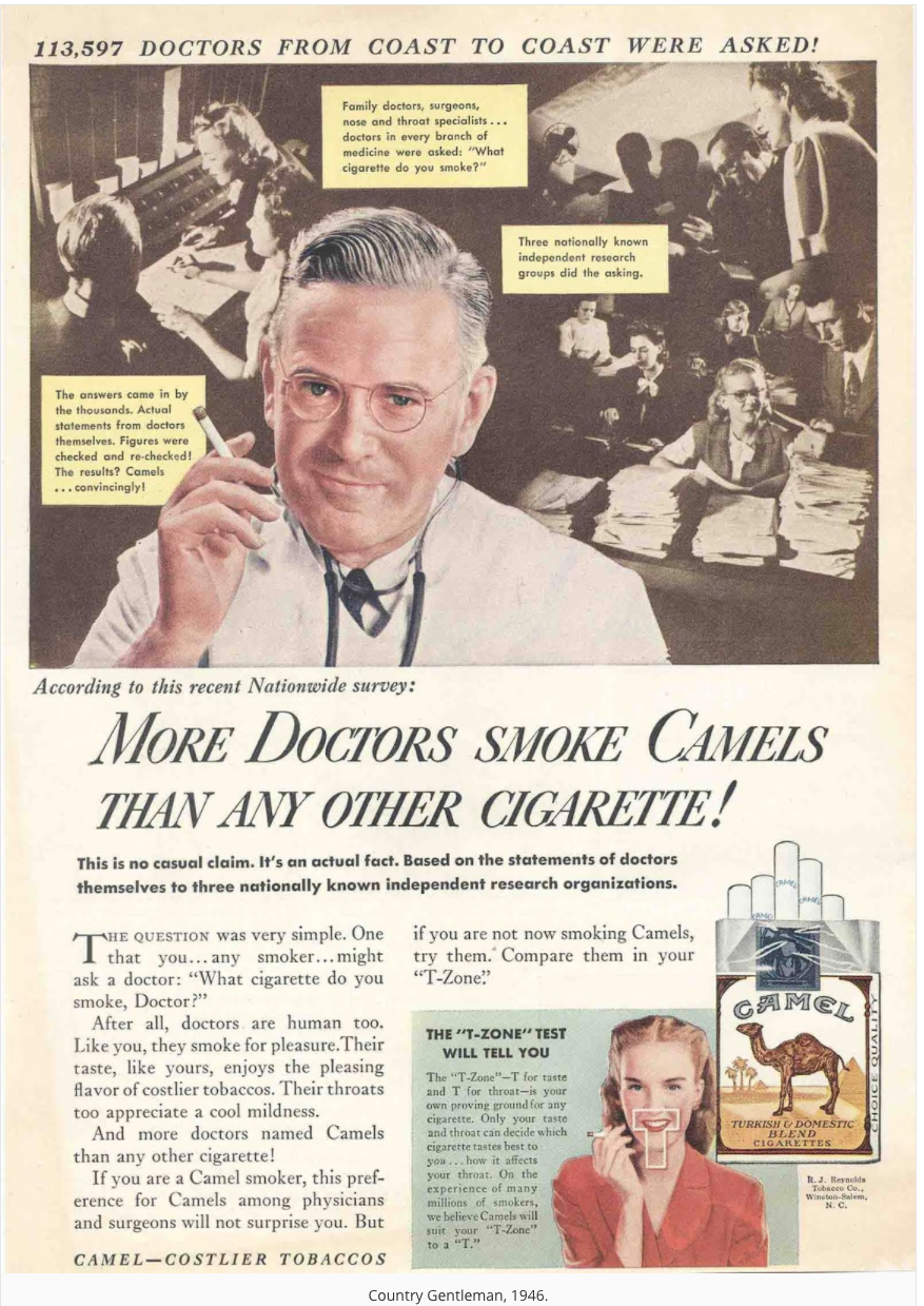 An old advertisement showing a doctor recommending cigarettes.