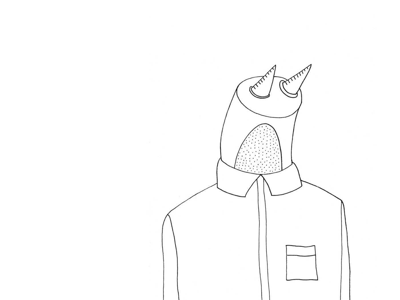 Illustration of a man whose head is like a robot's