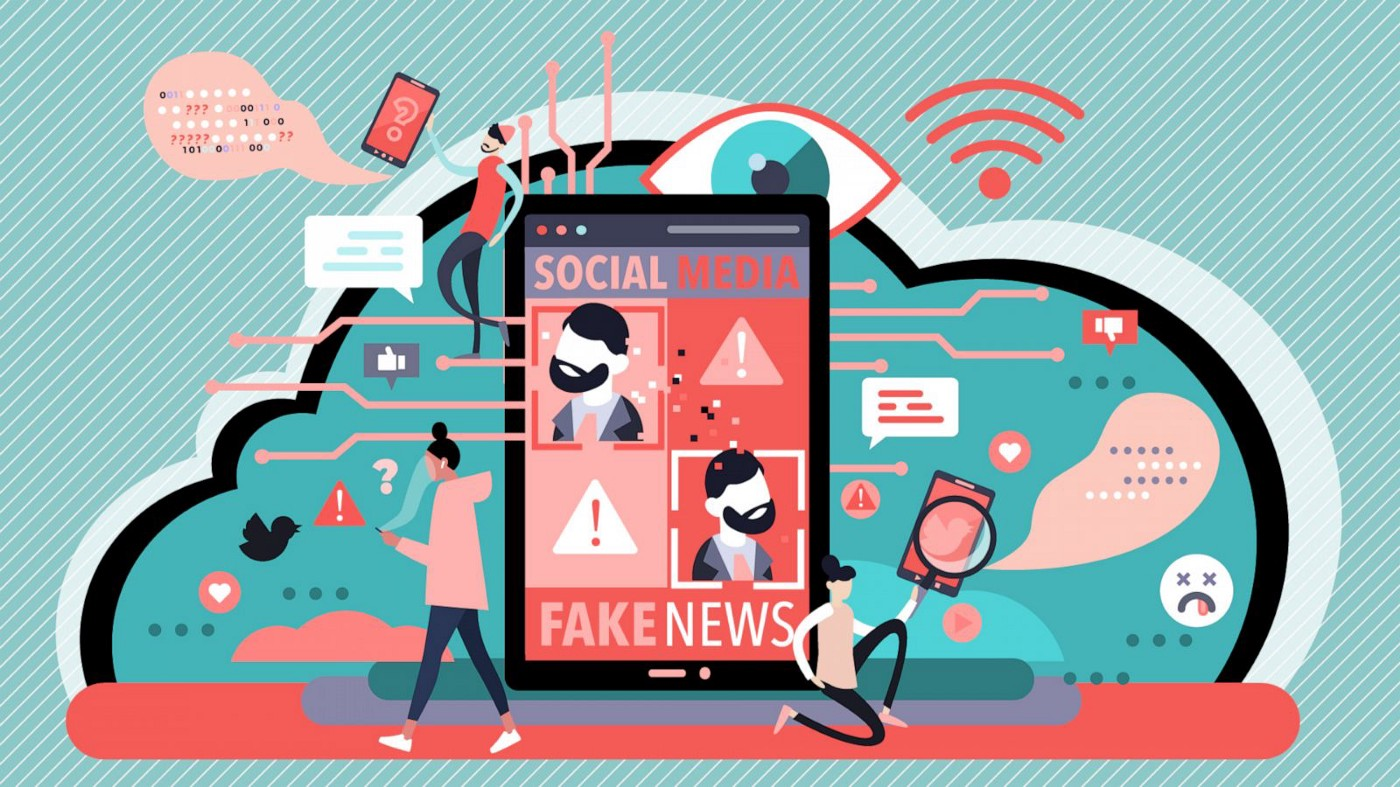 """A collage image of objects associated with social media. In the center, a cell phone displays the words """"Social Media"""" above a panel of 4 images, with the words """"fake news"""" displayed below."""