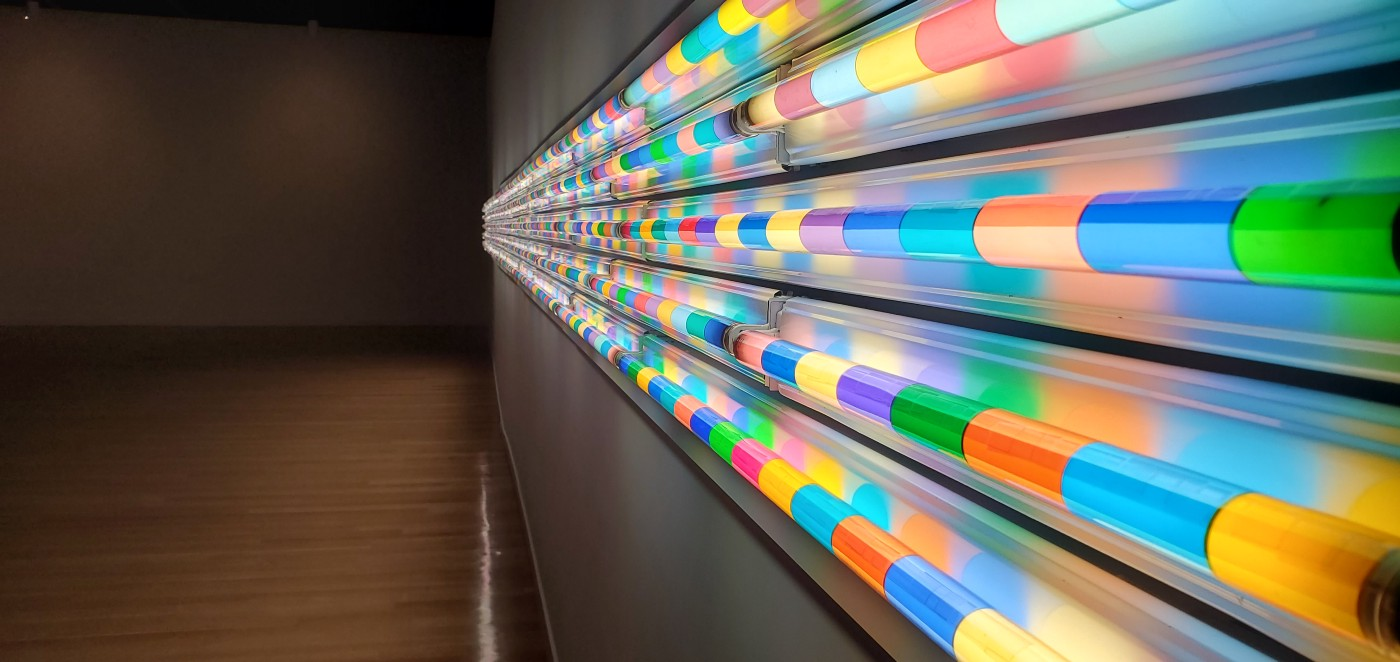 Light Tubes of alternating colors in one point perspective