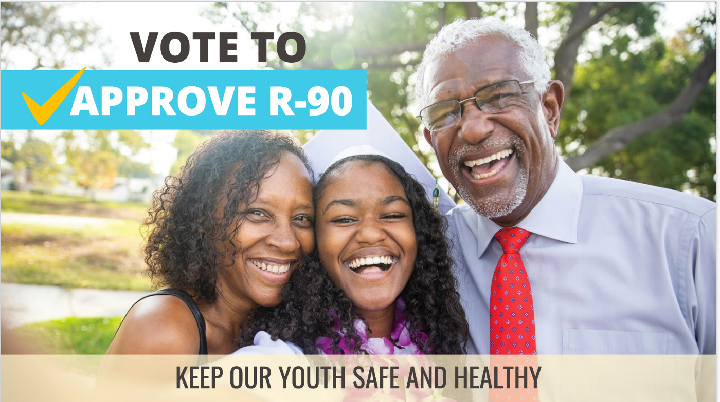 Vote to approve R-90 — keep our youth safe and healthy, and a picture of three happy people.