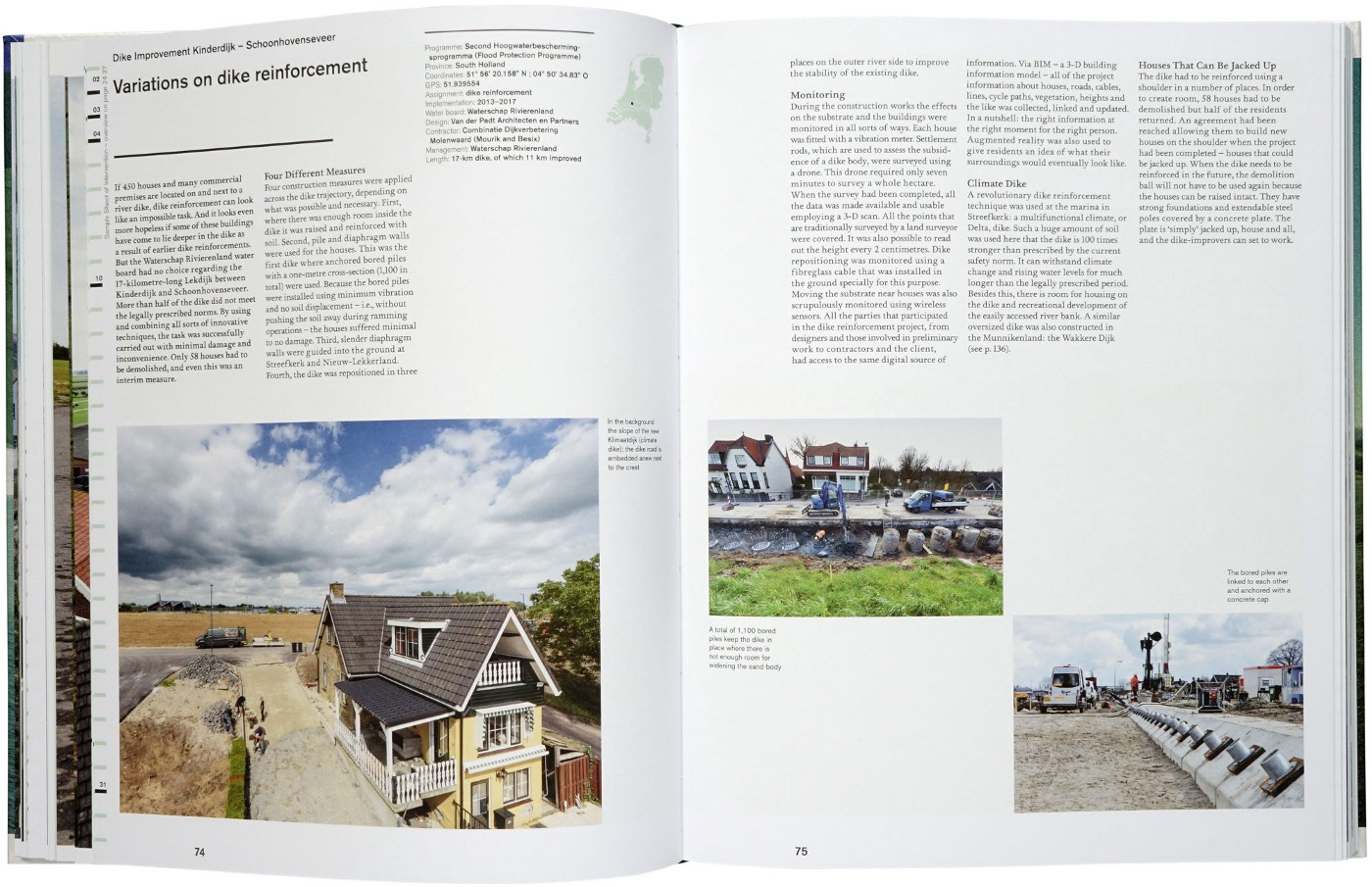 Photo of an inside double page spread, uses a 3 column layout with images running along the bottom of the page