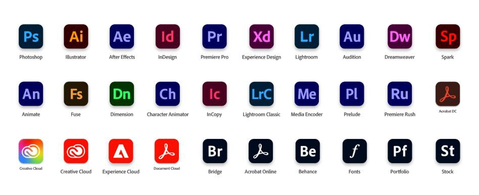 Collection of apps by Adobe