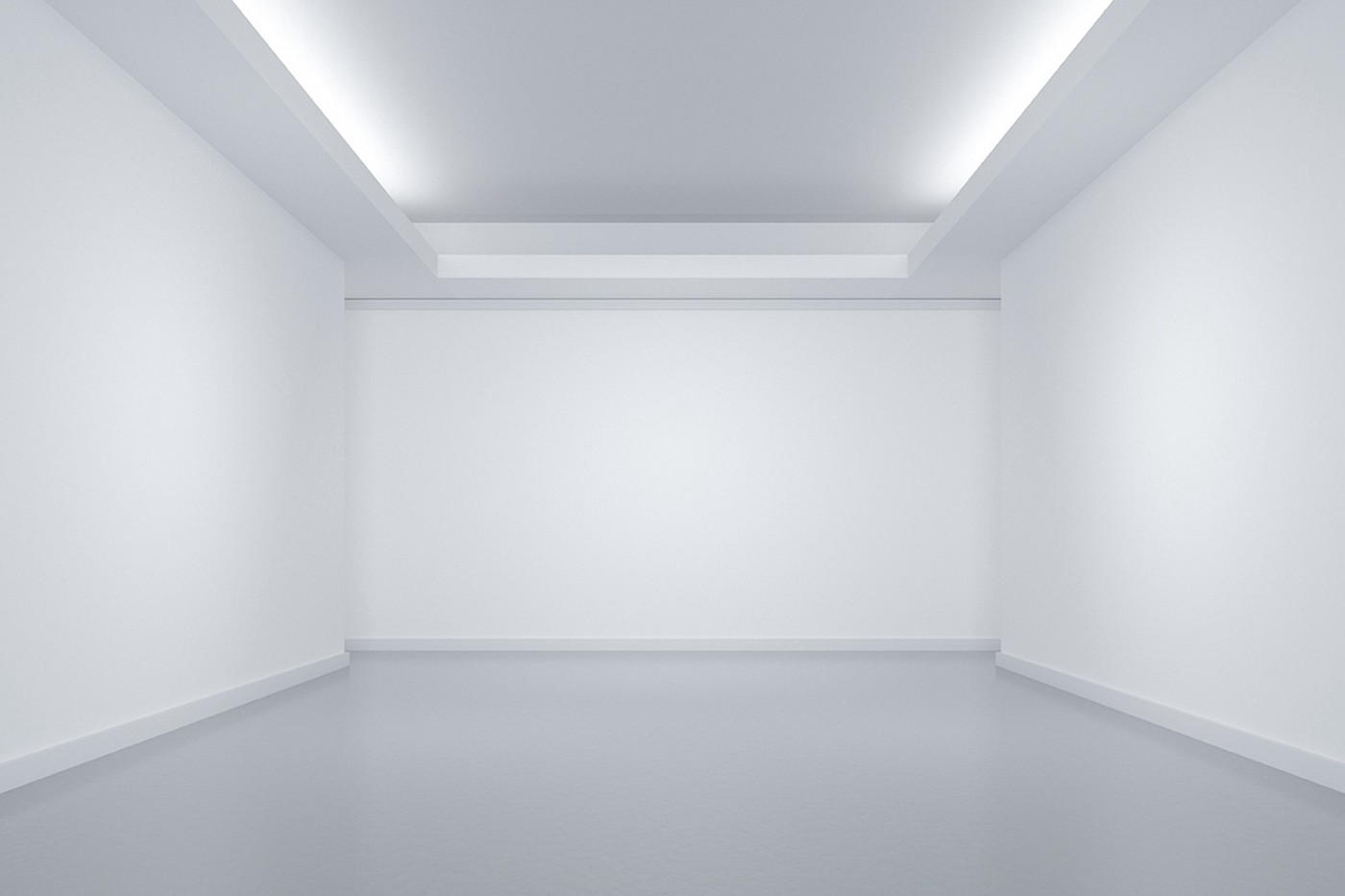An empty white room.