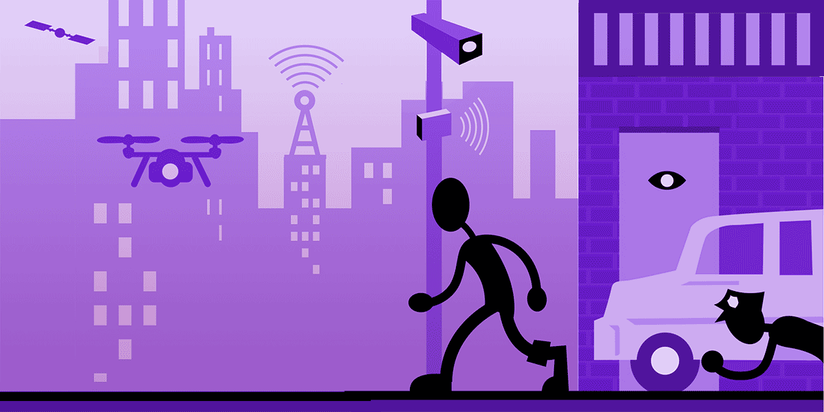 A frame from EFF's 'Overlapping Infrastructure of Urban Surveillance' graphic, depicting a person on a city street, being spied on by a drone, a satellite, a wifi node, a cellular tower, a police officer and a storefront sensor.